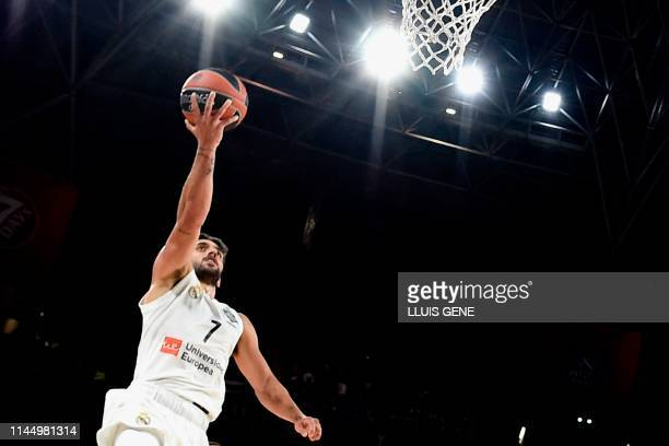 Real Madrid's Argentinian guard Facundo Campazzo jumps to score during the EuroLeague third place play-off basketball match between Fenerbahce and...