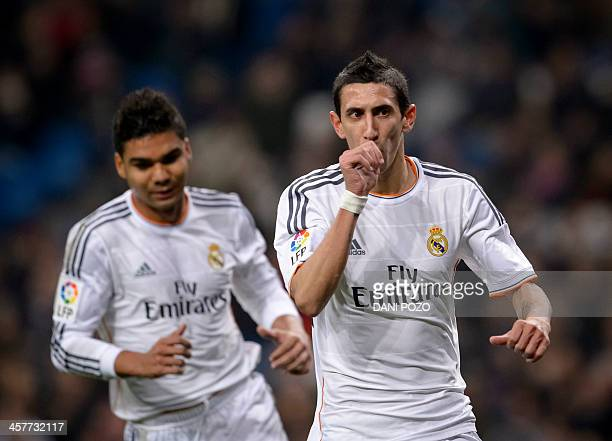Real Madrid's Argentinian midfielder Angel di Maria celebrates after scoring during the Spanish Copa del Rey finals stage secondleg football match...