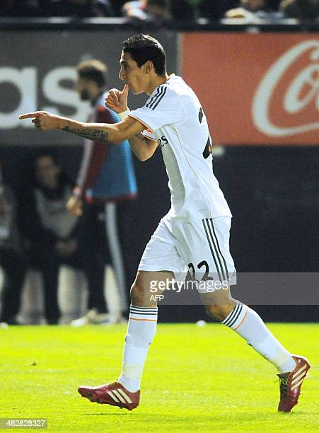 Real Madrid's Argentinian midfielder Angel di Maria celebrates after scoring during the Spanish Copa del Rey round of 16 secondleg football match...
