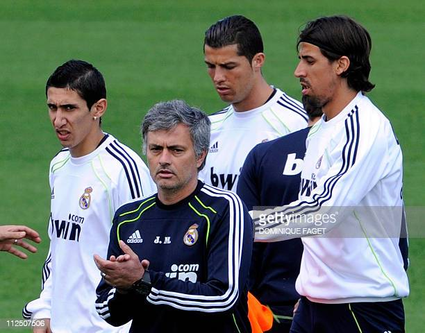 Real Madrid's Argentinian midfielder Angel di Maria Real Madrid's Portuguese coach Jose Mourinho Real Madrid's Portuguese forward Cristiano Ronaldo...