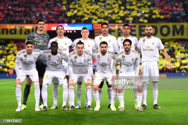 Real Madrid's Belgian goalkeeper Thibaut Courtois Real Madrid's Spanish defender Sergio Ramos Real Madrid's German midfielder Toni Kroos Real...