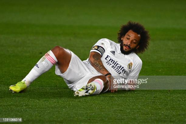 Real Madrid's Brazilian defender Marcelo gestures during the Spanish league football match between Real Madrid CF and Getafe CF at the Alfredo di...