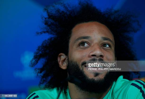 Real Madrid's Brazilian defender Marcelo holds a press conference at the Real Madrid City in Madrid on November 5 2019 on the eve of the UEFA...