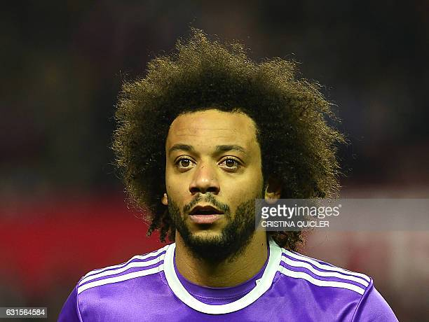 Real Madrid's Brazilian defender Marcelo looks on during the Spanish Copa del Rey round of 16 second leg football match Sevilla FC vs Real Madrid CF...