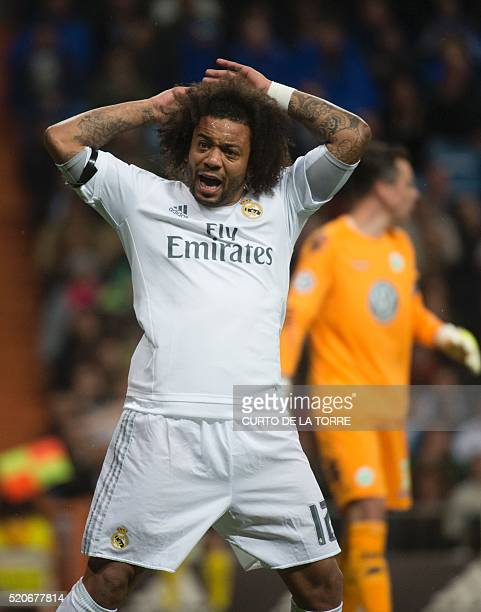 Real Madrid's Brazilian defender Marcelo shouts and gestures during the Champions League quarterfinal second leg football match Real Madrid vs...