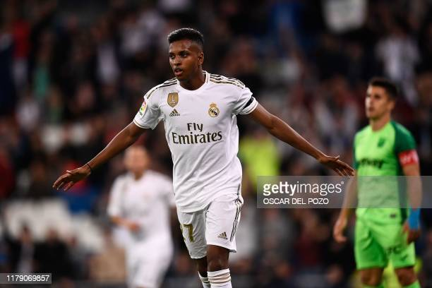 Real Madrid's Brazilian forward Rodrygo celebrates after scoring a goal during the Spanish league football match between Real Madrid CF and Club...