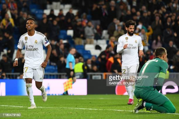 Real Madrid's Brazilian forward Rodrygo celebrates after scoring his third goal againt Galatasaray's Uruguayan goalkeeper Fernando Muslera during the...