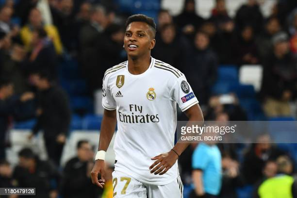 Real Madrid's Brazilian forward Rodrygo celebrates after scoring during the UEFA Champions League Group A football match between Real Madrid and...