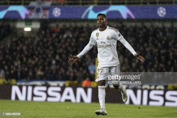 Real Madrid's Brazilian forward Rodrygo celebrates after scoring the opener during the UEFA Champions League Group A football match between Club...