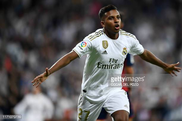 Real Madrid's Brazilian forward Rodrygo celebrates his goal during the Spanish league football match between Real Madrid CF and CA Osasuna at the...