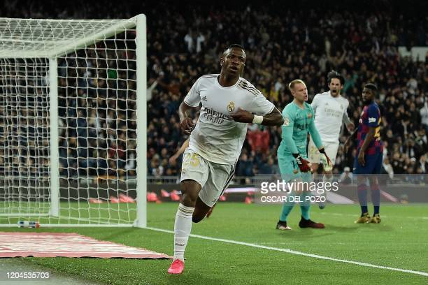 Real Madrid's Brazilian forward Vinicius Junior celebrates after scoring a goal during the Spanish League football match between Real Madrid and...