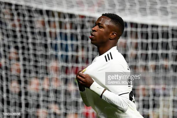Real Madrid's Brazilian forward Vinicius Junior celebrates his goal during the Spanish league football match Real Madrid CF against Club Deportivo...