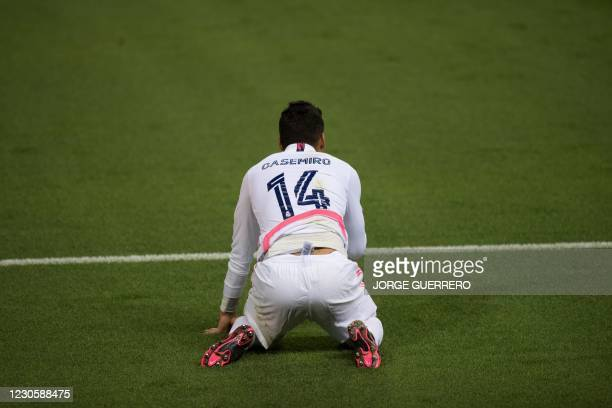 Real Madrid's Brazilian midfielder Casemiro reacts during the Spanish Super Cup semi final football match between Real Madrid and Athletic Club...