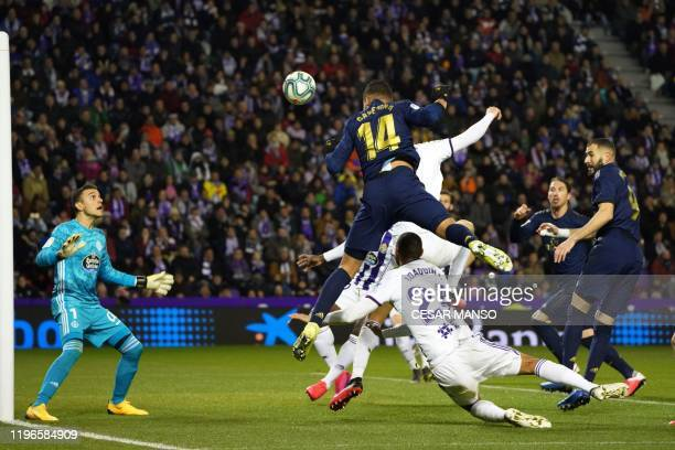Real Madrid's Brazilian midfielder Casemiro scores a goal, eventually cancelled, during the Spanish league football match Real Valladolid FC against...