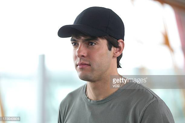 Real Madrid's Brazilian midfielder Kaka arrives at Beijing Capital International Airport on July 1 2013 in Beijing China