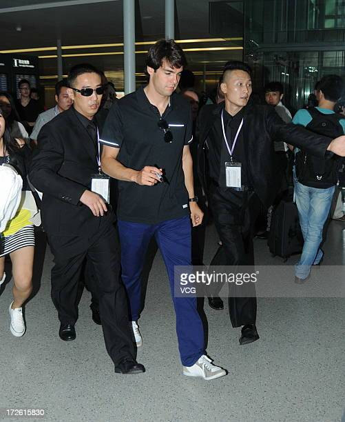 Real Madrid's Brazilian midfielder Kaka arrives at the Shanghai Hongqiao Airport on July 4 2013 in Shanghai China
