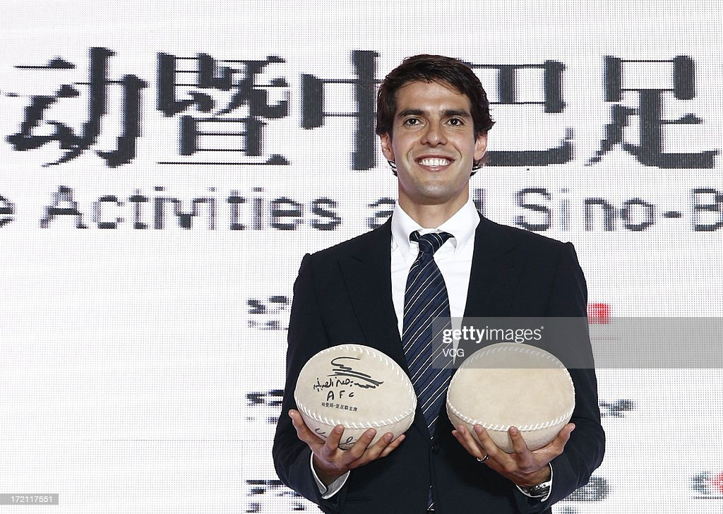 Real Madrid's Brazilian midfielder Kaka poses with Cuju, an ancient Chinese football, during the Grand Sino-Brazil Cultural and Sports Exchange Activities and Sino-Brazil Football Carnival launching ceremony at National Stadium on July 2, 2013 in Beijing, China.