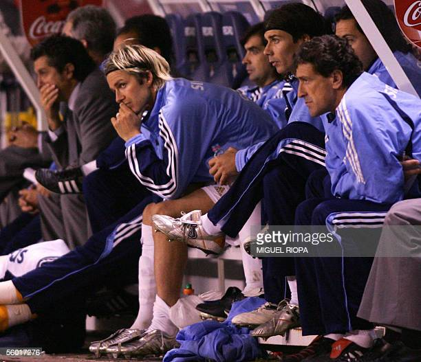 Real Madrid's British midfielder David Beckham sits on the substitute's bench during the Spanish first league football match Real Madrid vs Deportivo...