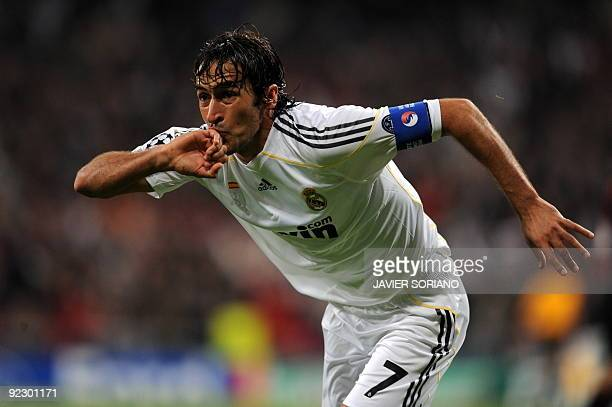 Real Madrid's captain Raul Gonzalez celebrates after scoring a goal against AC Milan during a Champions league group C football match at the Santiago...