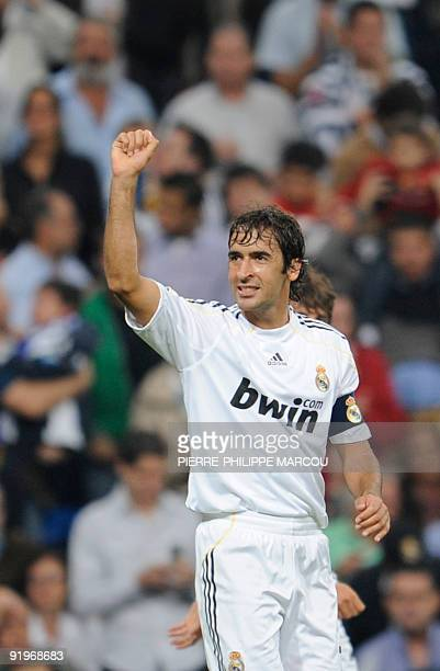 Real Madrid's captain Raul Gonzalez celebrates his goal against Valladolid during their Spanish League football match at Santiago Bernabeu stadium in...
