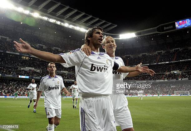 Real Madrid's captain Raul Gonzalez celebrates his goal with Robben during the La Liga match between Real Madrid and Real Betis at the Santiago...