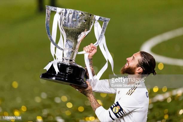 Real Madrid's Captain Sergio Ramos lifts La Liga trophy during La Liga match between Real Madrid CF and Villarreal CF at Estadio Alfredo Di Stefano...