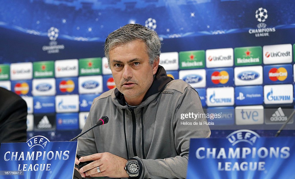 Real Madrid's coach Jose Mourinho attends a press conference on the eve of the UEFA Champions League football match Real Madrid CF vs Borussia Dortmund on April 29, 2013, in Madrid, Spain.