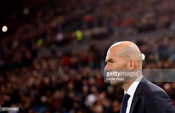 Real MadridÕs coach Zinedine Zidane arrives for the first leg round of 16 Champions League soccer match between Roma and Real Madrid at the Olympic...