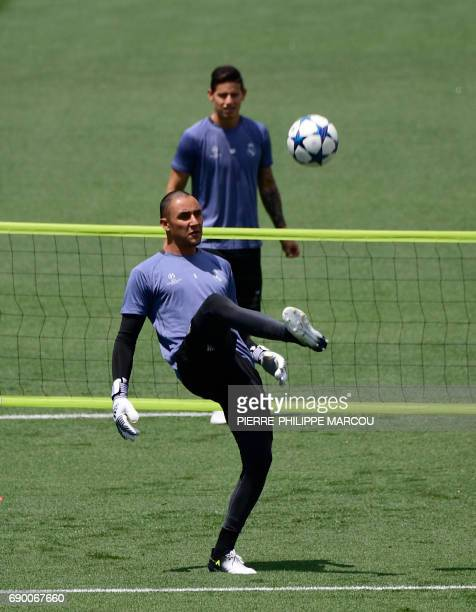 Real Madrid's Costa Rican goalkeeper Keylor Navas kicks the ball during a training session at Valdebebas Sport City in Madrid on May 30 2017 at the...