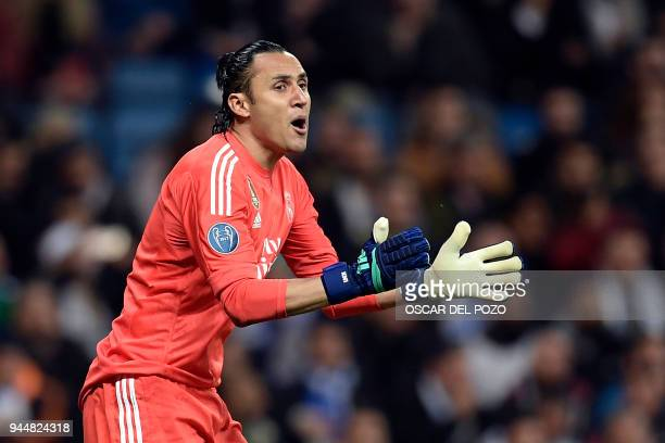 Real Madrid's Costa Rican goalkeeper Keylor Navas reacts during the UEFA Champions League quarterfinal second leg football match between Real Madrid...