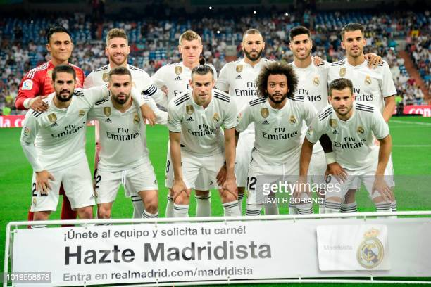 Real Madrid's Costa Rican goalkeeper Keylor Navas Real Madrid's Spanish defender Sergio Ramos Real Madrid's German midfielder Toni Kroos Real...