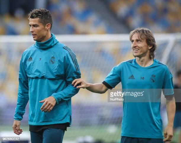 Real Madrid's Cristiano Ronaldo and Luka Modric attend a training session at the Olimpiyskiy Stadium in Kiev Ukraine 25 May 2018The 2018 UEFA...