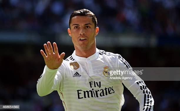 Real Madrid's Cristiano Ronaldo celebrates after scoring a goal during the Spanish La Liga football match between Real Madrid CF vs Granada CF at the...