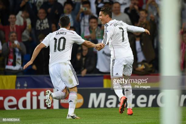Real Madrid's Cristiano Ronaldo celebrates scoring his second goal during the UEFA Super Cup Final at the Cardiff City Stadium Cardiff