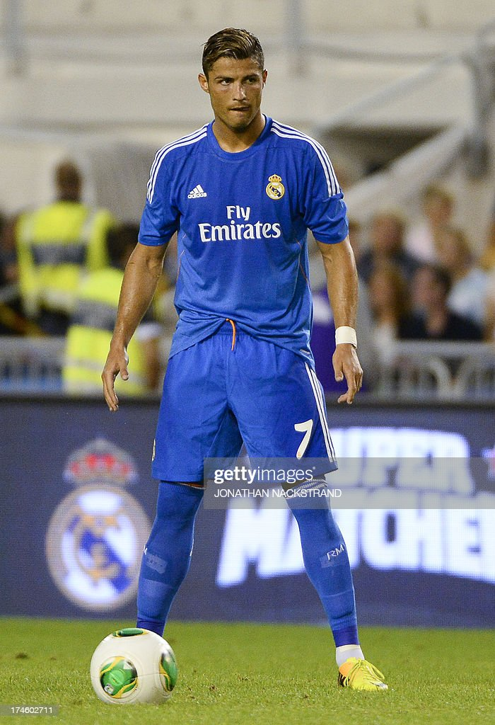 Real madrids cristiano ronaldo is pictured during a friendly real madrids cristiano ronaldo is pictured during a friendly football match between psg and real madrid on july 27 2013 at the ullevi stadium in voltagebd Gallery