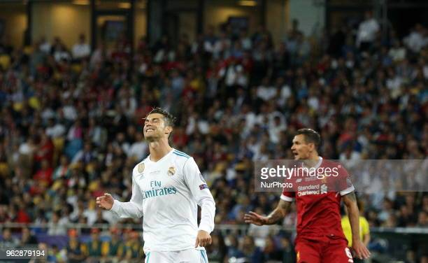 Real Madrid's Cristiano Ronaldo left reacts during the final match of the Champions League between Real Madrid and Liverpool at the Olympic Stadium...