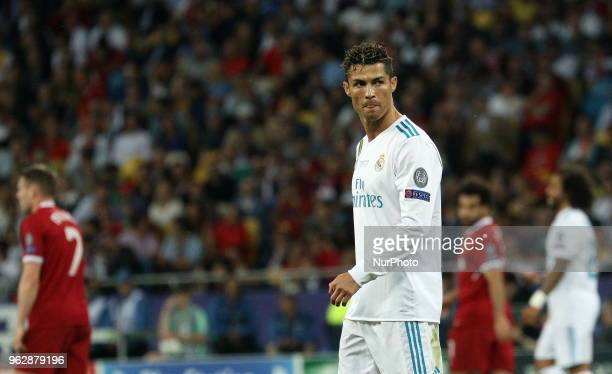 Real Madrid's Cristiano Ronaldo looks at the players during the final match of the Champions League between Real Madrid and Liverpool at the Olympic...