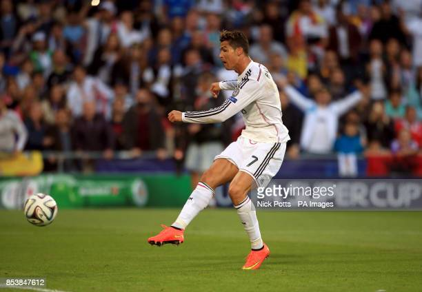 Real Madrid's Cristiano Ronaldo shoots during the UEFA Super Cup Final at the Cardiff City Stadium Cardiff