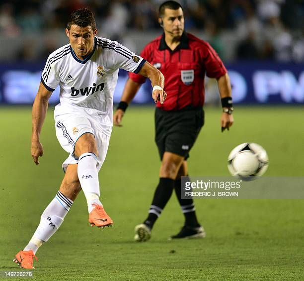 Real Madrid's Cristiano Ronaldo takes a free kick against the LA Galaxy during their World Football Challenge friendly match on August 2 2012 in...
