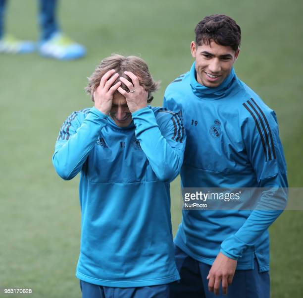 Real Madrid's Croatian midfielder Luka Modric during a training session at Valdebebas training ground on April 30 2018 in Madrid Spain