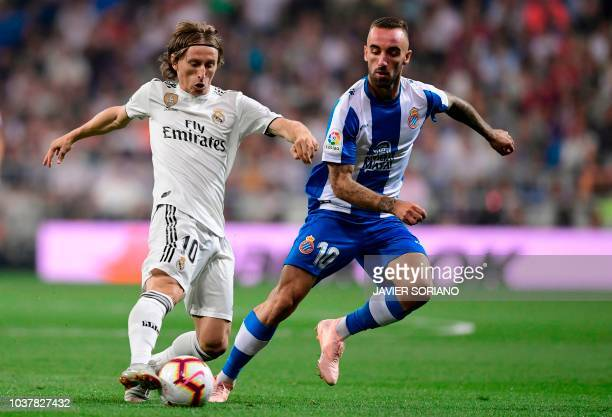 Real Madrid's Spanish defender Sergio Ramos controls the ball during the Spanish league football match between Real Madrid CF and RCD Espanyol at the...
