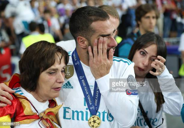 Real Madrid's Dani Carvajal in the center reacts during the final match of the Champions League between Real Madrid and Liverpool at the Olympic...