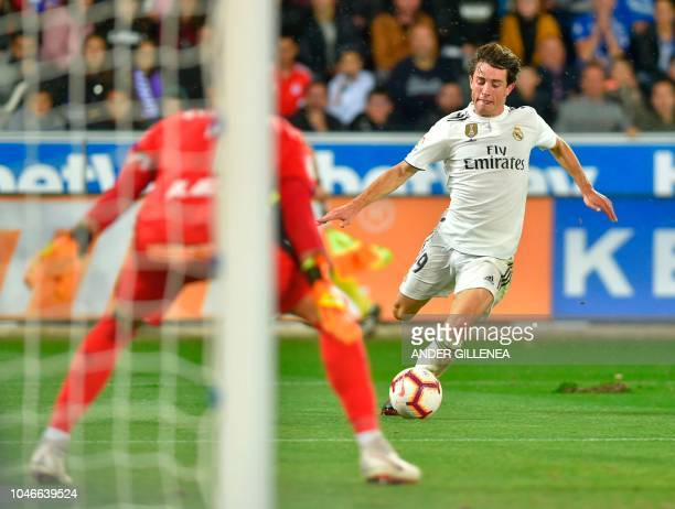 Real Madrid's defender Alvaro Odriozola prepares to shoot during the Spanish league football match between Deportivo Alaves and Real Madrid CF at the...