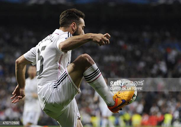 Real Madrid's defender Carvajal controls the ball during the UEFA Champions League quarterfinals second leg football match Real Madrid CF vs Club...