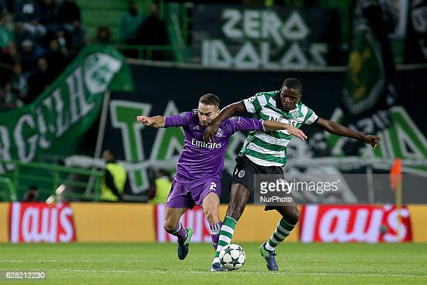 Real Madrids defender Dani Carvajal from Spain and Sportings midfielder William Carvalho from Portugal in action during the UEFA Champions League...