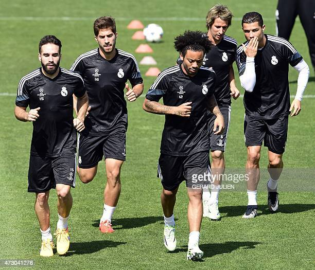Real Madrid's defender Dani Carvajal Real Madrid's Brazilian midfielder Lucas Silva Real Madrid's Brazilian defender Marcelo Real Madrid's Portuguese...