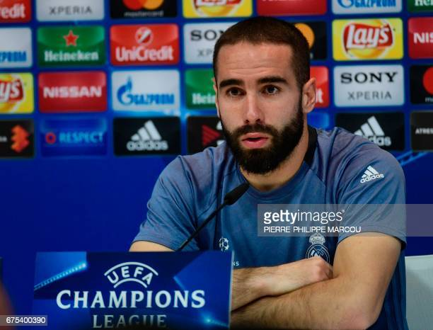Real Madrid's defender Dani Carvajal speaks during a press conference at Valdebebas Sport City in Madrid on May 1 2017 on the eve of their Champions...