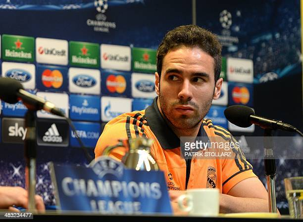 Real Madrid's defender Daniel Carvajal attends a press conference on April 7 2014 in Dortmund on the eve of the second leg of the UEFA Champions...