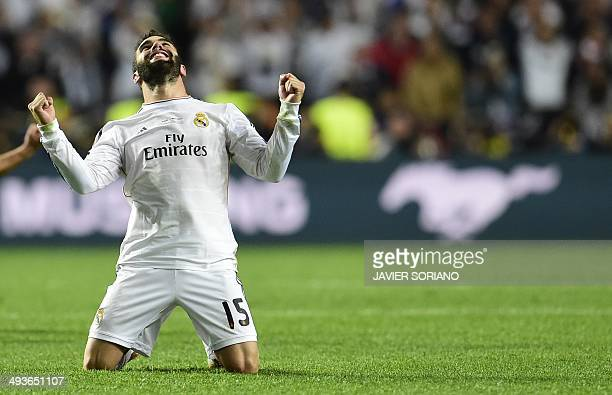 Real Madrid's defender Daniel Carvajal reacts during the UEFA Champions League Final Real Madrid vs Atletico de Madrid at Luz stadium in Lisbon on...