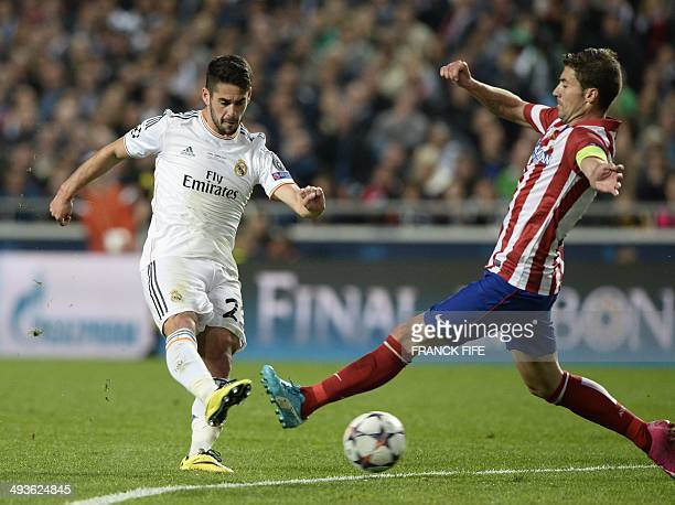 Real Madrid's defender Daniel Carvajal shoots during the UEFA Champions League Final Real Madrid vs Atletico de Madrid at Luz stadium in Lisbon on...